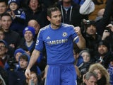 Chelsea's Frank Lampard celebrates scoring against West Ham in the Premier League match on March 17, 2013