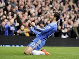 Chelsea's Eden Hazard celebrates scoring against West Ham on March 17, 2013