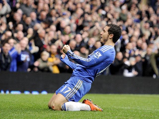Chelsea's Eden Hazard celebrates scoring against West Ham on March 17, 2013