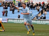 Coventry's Cody McDonald celebrates a goal against Hartlepool on March 16, 2013