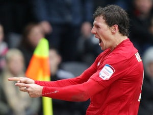 Forest forward Darius Henderson celebrates a goal against Hull City on March 16, 2013