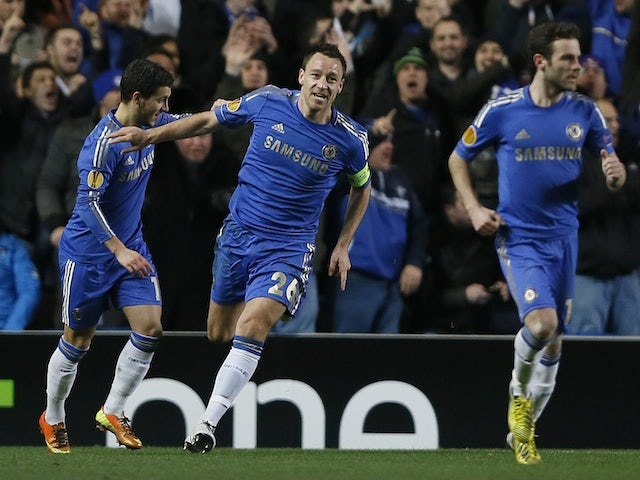 Chelsea captain John Terry celebrates a goal against Steaua Bucharest on March 14, 2013