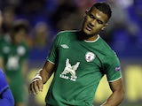 Rubin Kazan's Jose Rondon reacts after missing a chance to score against Levante on March 7, 2013