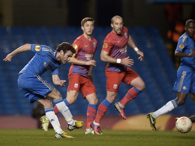 Chelsea's Juan Mata opens the scoring against Steaua Bucharest on March 14, 2013