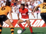 Arsenal's Kenny Sansom during a match against Wolverhampton Wanderers on August 29, 1983