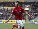 Forest's Lewis McGugan celebrates his winner against Hull on March 16, 2013