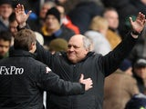 Fulham manager Martin Jol celebrates a win over Spurs on March 17, 2013