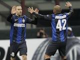 Inter's Rodrigo Palacio celebrates his goal against Spurs on March 14, 2013