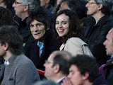 Ronnie Wood and his wife in the crowd during Barcelona's Champions League quarter final match against AC Milan on March 12, 2013