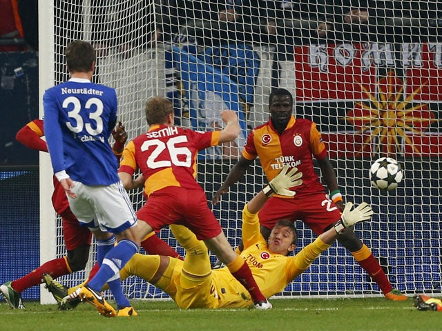 Schalke's Roman Neustaedter scores the opening goal in his side's Champions League last 16 second leg tie with Galatasaray on March 12, 2013