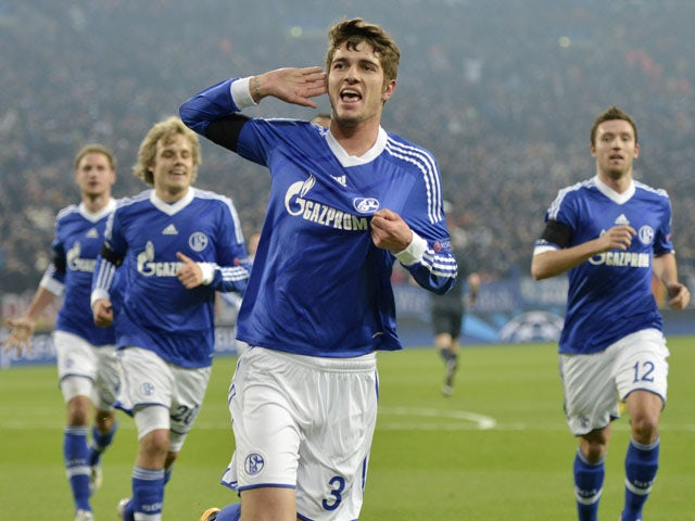 Schalke's Roman Neustaedter celebrates after scoring the opening goal in his side's Champions League last 16 second leg tie with Galatasaray on March 12, 2013