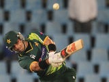 Pakistan's captain Misbah-ul-Haq hits a six during his side's ODI with South Africa on March 15, 2013