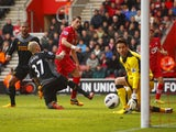 Southampton's Morgan Schneiderlin scores during his side's Premier League clash with Liverpool on March 16, 2013
