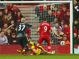 Southampton's Jay Rodriguez scores against Liverpool in the Premier League clash on March 16, 2013