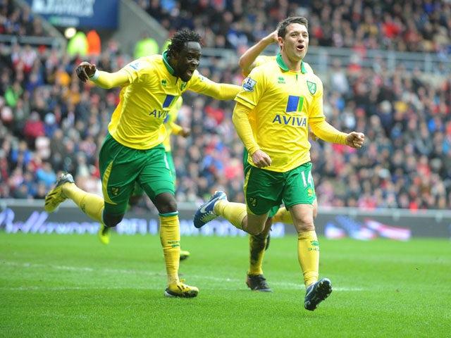 Norwich City's Wes Hoolahan celebrates scoring against Sunderland on March 17, 2013