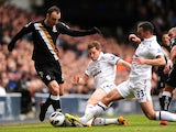Fulham's Dimitar Berbatov battles for the ball during his side's match against Tottenham Hotspur's on March 17, 2013