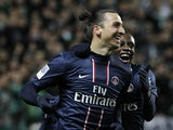 PSG's Zlatan Ibrahimovic celebrates a goal against St Etienne on March 17, 2013