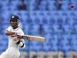 India's Cheteshwar Pujara plays a show against New Zealand on September 3, 2012