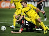 Columbus Crew defender Chad Marshall with D.C. United's Chris Pontius during the MLS match on March 23, 2013