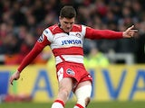 Gloucester's Freddie Burns kicks a penalty against London Welsh on March 23, 2013