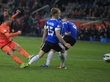 Rafael van der Vaart scores for the Netherlands in their World Cup qualifying match with Estonia on March 22, 2013