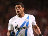 Zenit's Hulk during the Europa League clash with Liverpool on February 21, 2013