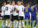 Germany players celebrate a goal from Bastian Schweinsteiger in their World Cup qualifying match with Kazakhstan on March 22, 2013
