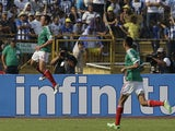Mexico's Javier Hernandez celebrates scoring against Honduras during a World Cup qualifying match on March 22, 2013