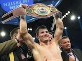 German boxer Robert Stieglitz celebrates winning the WBO super middleweight title against Arthur Abraham on March 23, 2013
