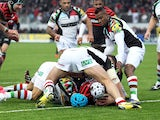 Saracens' Schalk Brits scores his team's first try against Harlequins on March 24, 2013
