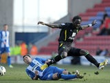 Kei Kamara and Antolin Alcaraz battle for the ball on March 30, 2013
