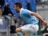 Lazio's Antonio Candreva celebrates after converting a penalty to score the winning goal against Catania on March 30, 2013
