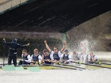 Oxford celebrate victory over Cambridge in the 159th Boat Race on March 31, 2013