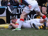 Saracens' Chris Ashton scores his team's second try against London Wasps on March 30, 2013
