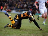 London Wasps' Christian Wade scores his team's first try against Saracens on March 30, 2013