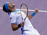 David Ferrer celebrates moments after defeating Tommy Haas to reach the final of the Miami Masters on March 29, 2013