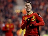 Belgium's Eden Hazard celebrates a goal against Macedonia on March 26, 2013