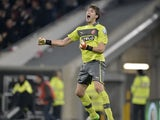 Duesseldorf's goalkeeper Fabian Giefer celebrates after his side's match against Borussia Moenchengladbach on October 31, 2012