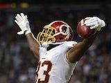Washington Redskins tight end Fred Davis celebrates scoring a touchdown against the St. Louis Rams on September 16, 2012