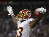 Washington Redskins tight end Fred Davis celebrates scoring a touchdown against the St. Louis Rams on September 16, 2012