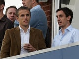 Brothers Gary and Phil Neville at a Twenty20 cricket match on September 1, 2009