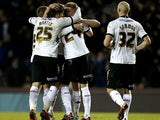 Derby's Jeff Hendrick is congratulated by team mates after scoring the opener against Bristol City on March 29, 2013