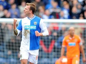 Blackburn's Jordan Rhodes celebrates scoring the equaliser against Burnley on March 29, 2013