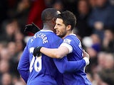 Kevin Mirallas is congratulated by team mate Victor Anichebe after scoring the opening goal against Stoke on March 30, 2013