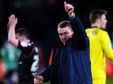 Birmingham City boss Lee Clark gives the thumbs up to fans after securing a win at Crystal Palace on March 29, 2013