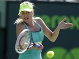 Maria Sharapova in action during the quarterfinals of the Sony Open tennis tournament on March 27, 2013