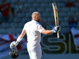 England's Matt Prior celebrates a century against New Zealand on March 26, 2013