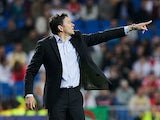 Real Sociedad boss Philippe Montanier on the touchline on March 24, 2012