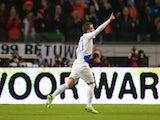 Rafa Van Der Vaart celebrates a goal against Romania on March 26, 2013
