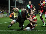 Harlequins' Rob Buchanan scores his team's first try against Gloucester on March 29, 2013